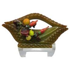Figural Bakelite Vegetable Basket Pin