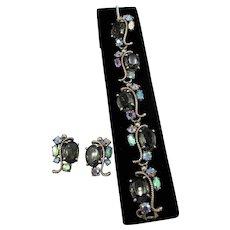 Schiaparelli Signed Link Bracelet and Earrings