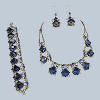 Stunning Czech. Necklace, Bracelet and Earrings