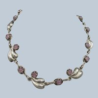 Sterling and Amethyst Mexico Silver Necklace