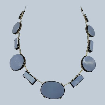 Deco 800 Silver and Glass Choker Necklace