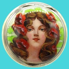 Guilloche Enamel Figural Sterling Small Vanity Container - English