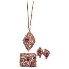 Juliana Demi Parure with Pink Rhinestones