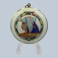 Vintage Guilloche Enamel Egyptian Revival Compact