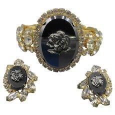 Juliana/D &  E Hematite Rose Clamper Bracelet and Earrings
