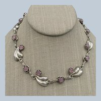 Vintage Sterling Silver and Amethyst Necklace - Mexico