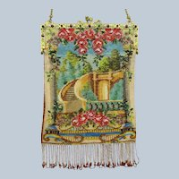 Beautiful Vintage Beaded Purse Courtyard Scene