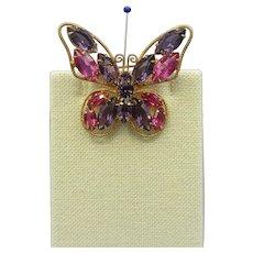 Juliana/D & E Vintage Butterfly Pin - Rhinestones