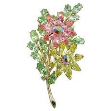 Crown Trifari Vintage Rhinestone Flower Pin