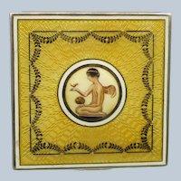 Guilloche Enamel .900 Silver Figural Vanity Powder Box