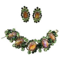 Vintage Cat's Eye Juliana Cabochon Bracelet and Earrings