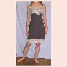 Vintage 1960 Sears  Brown Full Slip Beige lace size  34