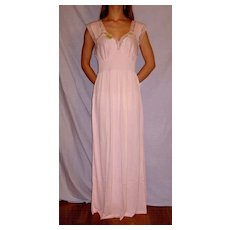 Vintage 1940 Lorraine Pink Acetate Long Nightgown NEW NWT Small 32 / 34