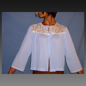 Vintage Miss Elaine Lacey Blue Bed jacket Size Medium / Large