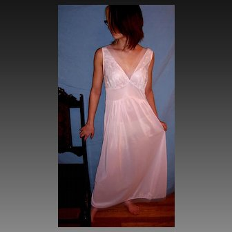 Vintage 1950's Seamprufe Long Sheer Pink Nightgown NEW NWT NOS Size 34