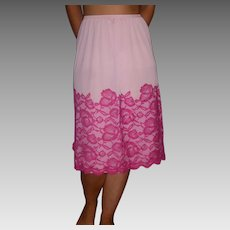 1950 Vintage Vanity Fair Half Slip Pink  with Rose lace size Medium