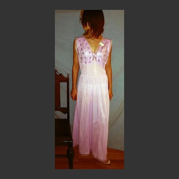 Vintage Lorraine 1950 Long Nightgown Orchid NEW NWT NOS Size 38 - 42 bust