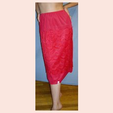 Vintage 1950 Magenta red Half Slip LACE NEW NWT NOS Size Large