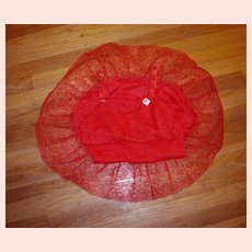 Vintage 1950's Seamprufe Rose Red Full Slip NEW NWT NOS Lacey size 36 /38