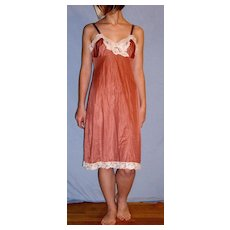 Vintage 1970 Lorraine Full Slip Bronze with White lace Size 34