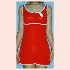 Vintage 1960's Lorraine RED Micro Mini Full Slip NEW NWT NOS Size 36