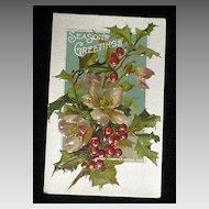 """Antique Embossed Postcard-Holly, Berries & Pink Flowers-""""Merry Christmas Series 403""""-Unused"""