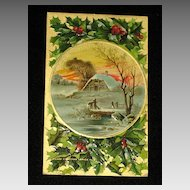 """Antique Embossed Postcard-Holly, Berries & Snowy Country Scene w/Home & Burning Fireplace-""""Merry Christmas Series 403""""-Unused"""