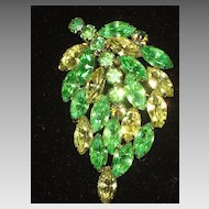 Vintage Leaf Brooch in Light Green & Creamy Yellow Prong Set Rhinestones