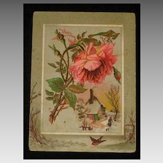 Large 1886 Card with Embossed Pink Rose/Leaves & Snowy Scene