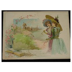 1886 Woolson Spice Advertising Easter Card with Two Beautiful Young Ladies, Bible & Cross-Knapp & Co.