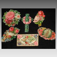 Six Victorian Floral Die Cut Embossed Scraps Including Large Cross with Roses & Hand Card