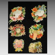 Six Victorian Embossed Die Cuts with Flowers, Cherubs, Birds & Five Phrases-From 1886 Scrapbook