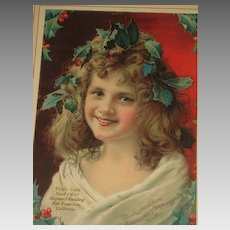 Gorgeous Antique Vintage Framed Christmas Girl w/Holly/Berries Litho with Metropolitan Life Insurance Co. Advertising