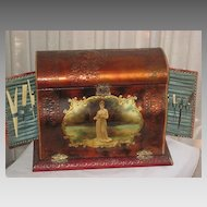 Huge Victorian Celluloid Upright Manicure Box with Swing-Out Sides & Some Contents
