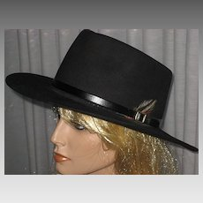 1980's Black Fur Cowboy Style Hat by Koala Blue-Olivia Newton-John's former Boutique