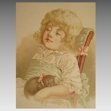 Dated 1889 Chromolithograph of Young Girl Sleeping in a Chair with a Kitten-3 of 9