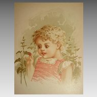 Dated 1889 Chromolithograph of Young Wide-Eyed Girl Touching a Lady Bug-6 of 9