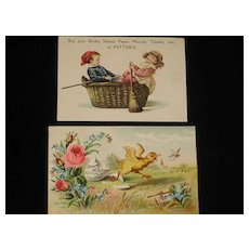 Two Advertising Trade Cards from 1886 Scrapbook-Patton's Books, etc. & Quick Meal Gas & Gas Stoves