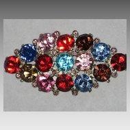 Stunning Large Vintage Multi-Color Cut Crystal Rhinestone Brooch