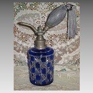 Stunning Antique C.1900's Cobalt Blue Cased Cut Glass Perfume Atomizer