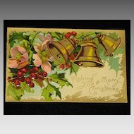 "Antique Embossed Postcard: Three Bells, Holly/Berries & Flowers-""Merry Christmas Series 403""-Unused"
