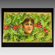 "Antique Embossed Postcard-Young Lady Peeking Out of Holly & Berries-""Merry Christmas Series 403""-Unused"
