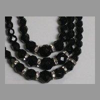 Vintage 3 Strand Laguna Black Cut Crystal Necklace with Rhinestone Roundels-Original Tag
