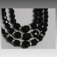 Vintage 3 Strand Laguna Black Cut Crystal Necklace with Rhinestone Roundels-Original Tag