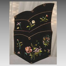 Victorian Hanging Letter, Paper, Postcard Holder with Hand Embroidered Multi-Color Flowers-Stunning!