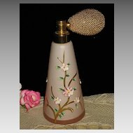 Vintage Pink Satin Glass Atomizer w/Hand Painted Enameled Flowers-1 of 2