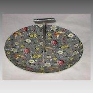 Vintage Black Floral Bird Chintz Tid Bit Dish with Handle-Burslem England- Newport Pottery