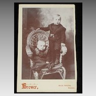 Antique Cabinet Card with Two Very Young Children on Wicker Chair