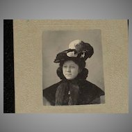 Small Antique Victorian Cabinet Card of Beautifully Dressed Woman in Feathered Hat & High Collared Fur Capelet