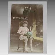 Antique French Hand Tinted Real Photo-Young Girl, Doll, Soldier & Christmas Holly